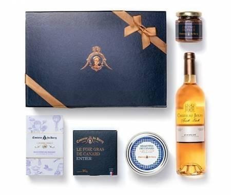 Geschenkset Foie Gras aus ganzer Leber, Süßigkeiten und edelsüßer Weißwein aus Frankeich 375 ml