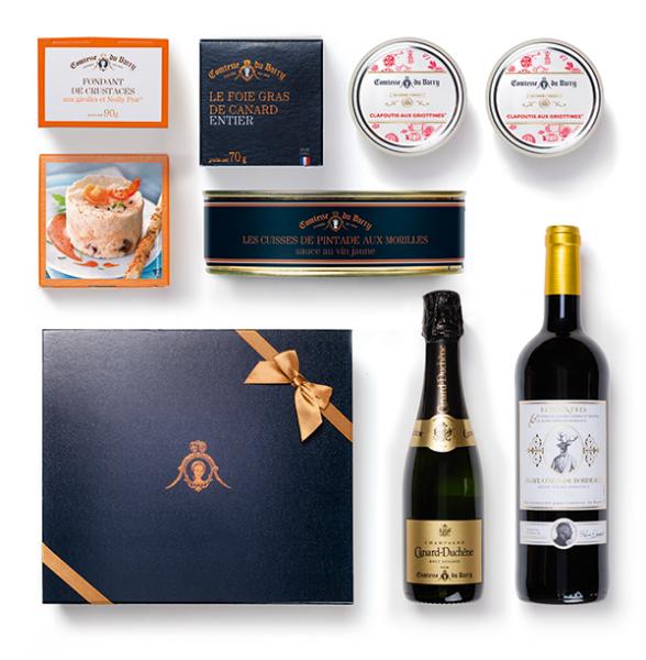 Geschenkset Luxusmenü für 2 Personen mit Champagner 375ml und Rotwein 750ml