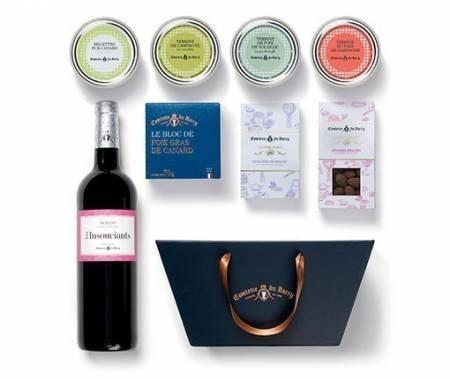 Geschenkkorb Foie Gras, Terrinen, Süßigkeiten und Rotwein Merlot 750ml aus Frankreich