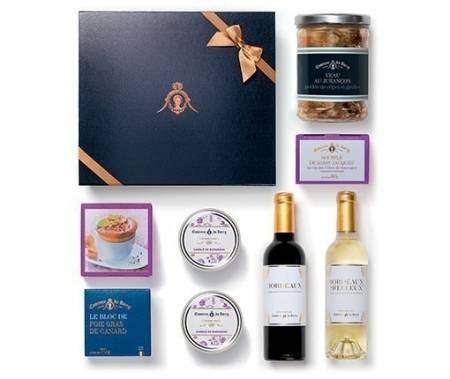 Gourmet-Geschenkset Menü für 2 Personen mit Foie Gras Bordeaux Rotwein und Weißwein je 375 ml