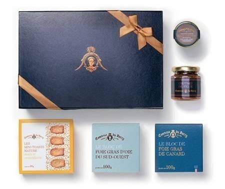 Geschenkset Foie Gras von Gans und Ente, Feigen-Chutney, Salz mit Sommertrüffel und Mini-Toasts