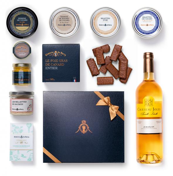 Luxus-Geschenkset Foie Gras Entier, Terrinen, Rillettes, Süßigkeiten, Weißwein Château Jolys edelsüß