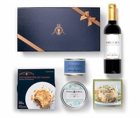 Geschenkset Menü für 1 Person mit Terrine mit Foie Gras Vorspeise Hauptgang Dessert und Bordeaux Rot