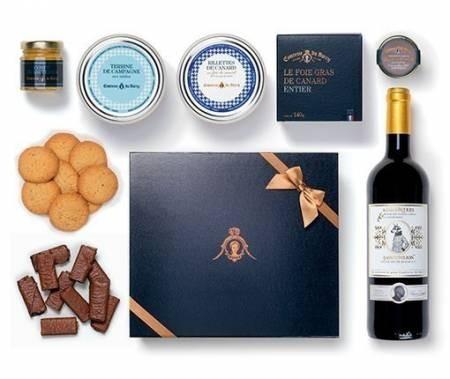 Geschenkset Foie Gras aus ganzer Entenleber, Terrinen, Süßigkeiten und Rotwein St. Emilion 750ml