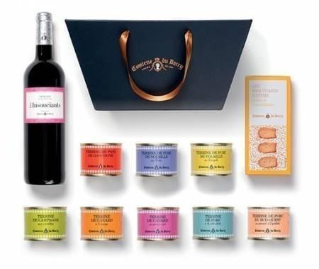 Geschenkkorb Auswahl von Terrinen mit dem passenden Rotwein Merlot 750 ml aus Frankreich