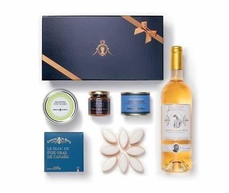 Gourmet-Geschenk Enten Foie Gras - Enten Medaillons - Enten-Rillettes - Weißwein lieblich