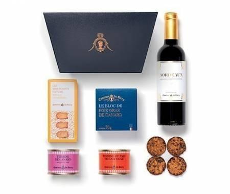 Geschenkkorb Foie Gras, Terrinen und Gebäck mit Bordeaux Rotwein 375 ml