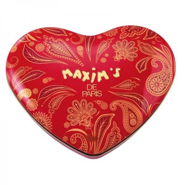 Maxim's de Paris Herzdose mit Schokoladen und französischem Nougat 180g