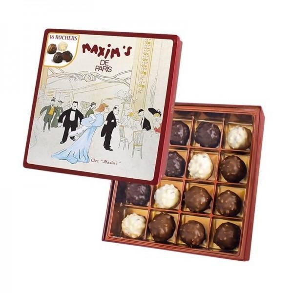16 Rocher Pralinen knusprige Spezialität in Bitter-, Vollmilch- und weißer Schokolade 140g